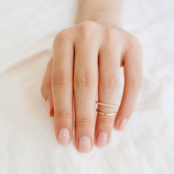 CZ Gold Two Ring Knuckle or Midi Ring