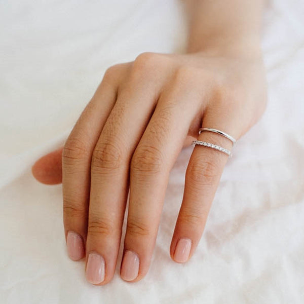 CZ Rhodium Two Ring Knuckle or Midi Ring