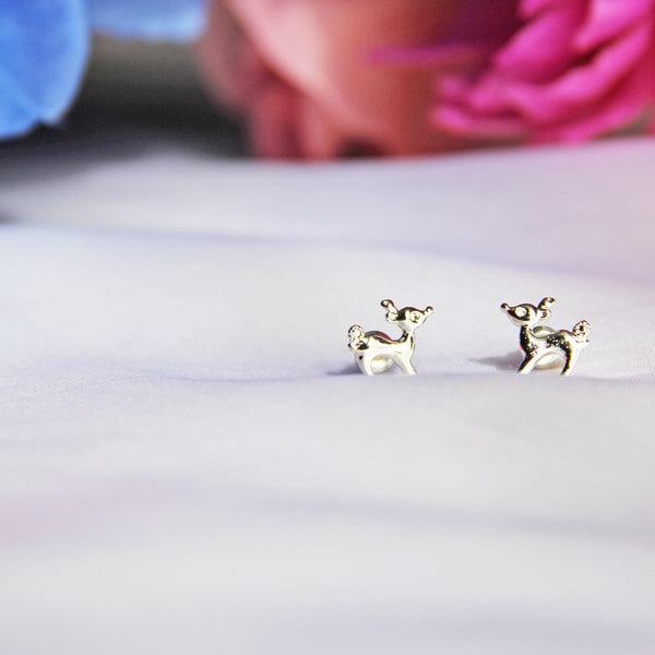 Silver Bambi Stud Earrings