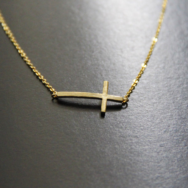 The Sideways Cross Necklace in Gold Filled