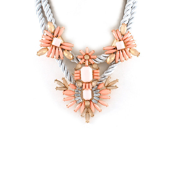 Stunning Pink & Gray Jeweled Statement Necklace