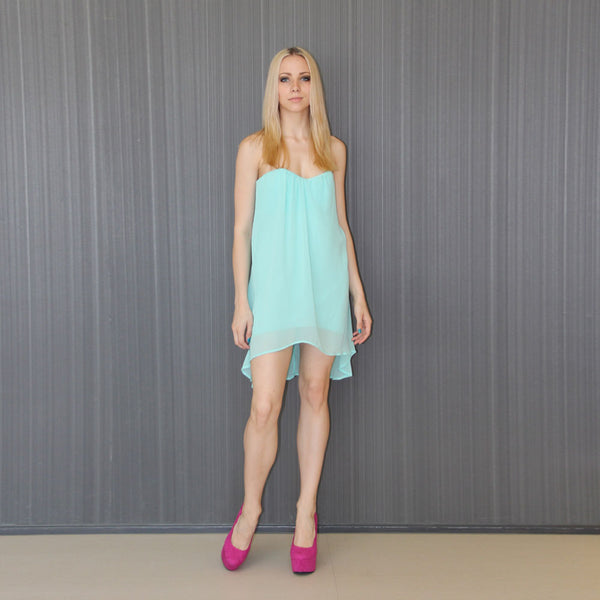 Flirty Mint Green Strapless Party Dress