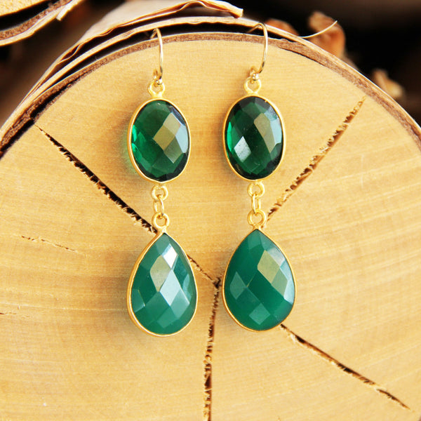 The Royal Treatment Green Onyx & Quartz Earrings