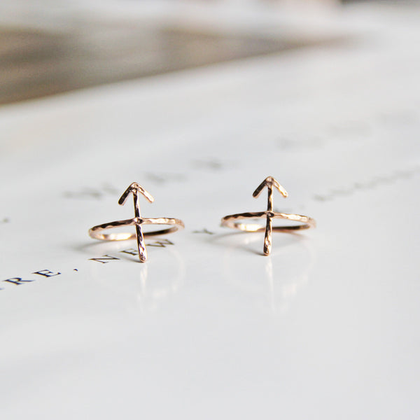 Rose Gold Hammered Arrow Ring