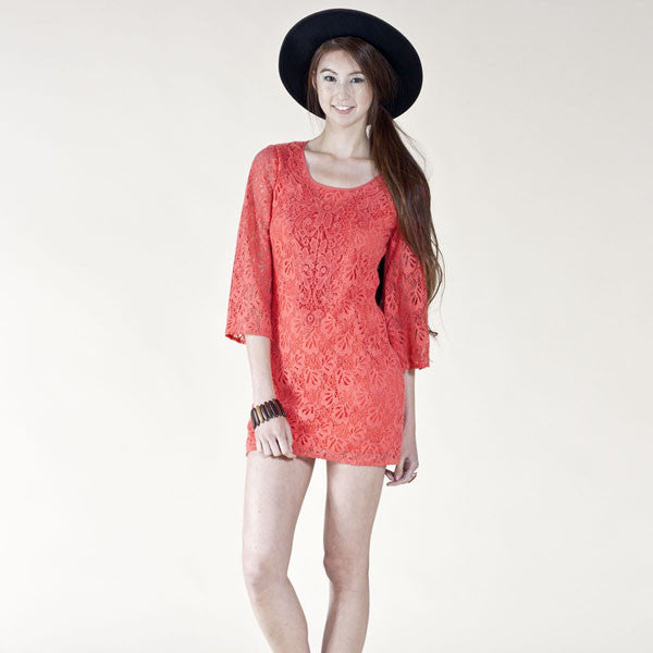 Red ¾ Sleeve Lace Dress