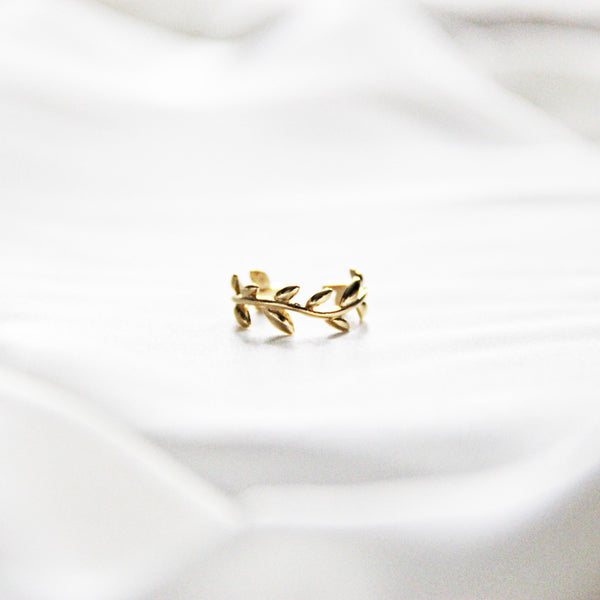 Gold-Plated Laurel Leaf Knuckle Ring