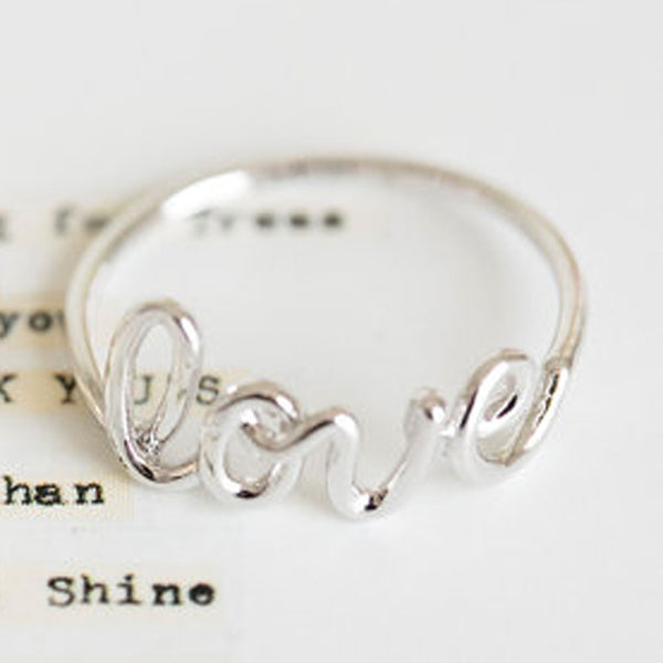 Platinum Plate LOVE Ring