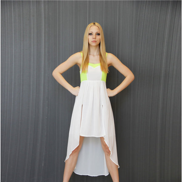 Neon Green & White Party Dress