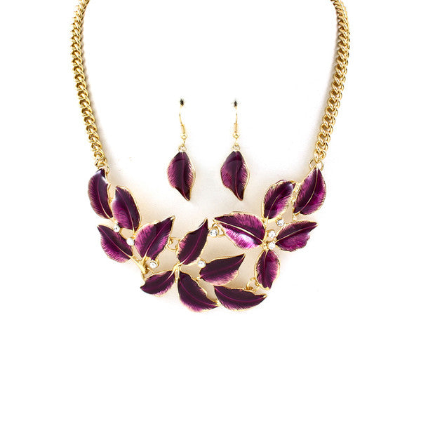 Deep Purple Leaf Bib Necklace & Earring Set
