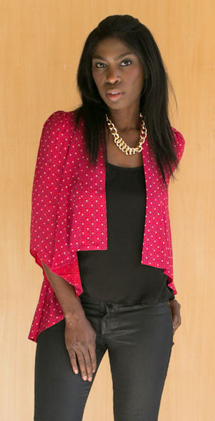red and blue dotted jacket