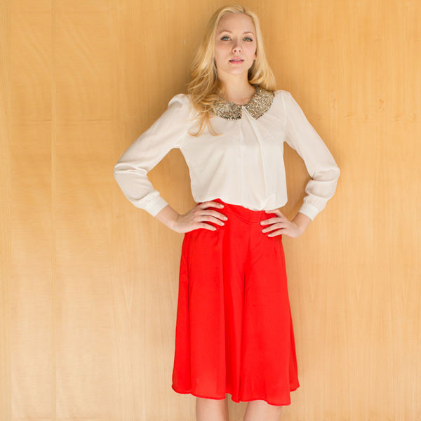 Rosa's Red A-Line Skirt Pants
