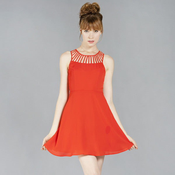 Luxurious Red Flared Party Dress