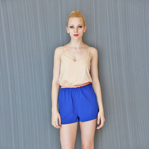 Colorblock Romper with Skinny Belt