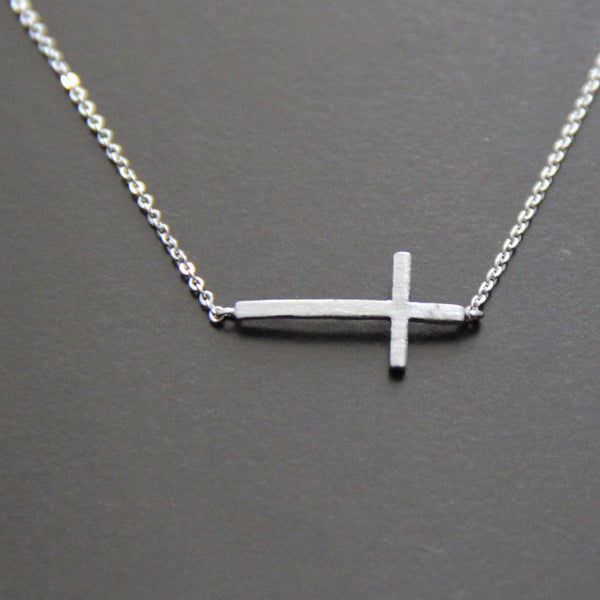 The Sideways Cross Necklace in Rhodium Filled