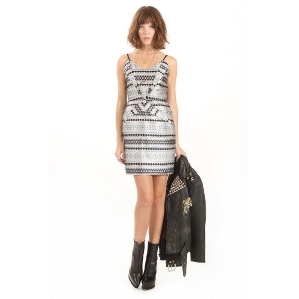 Silver Hologram Party Dress