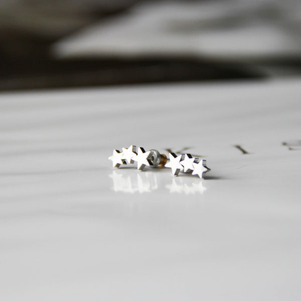 Silver Shooting Stars Stud Earrings