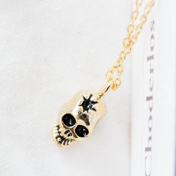 Gold Skull Pendant Necklace