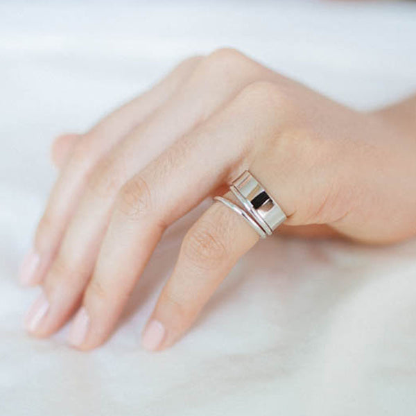 Neoclassic Rhodium Layered Ring