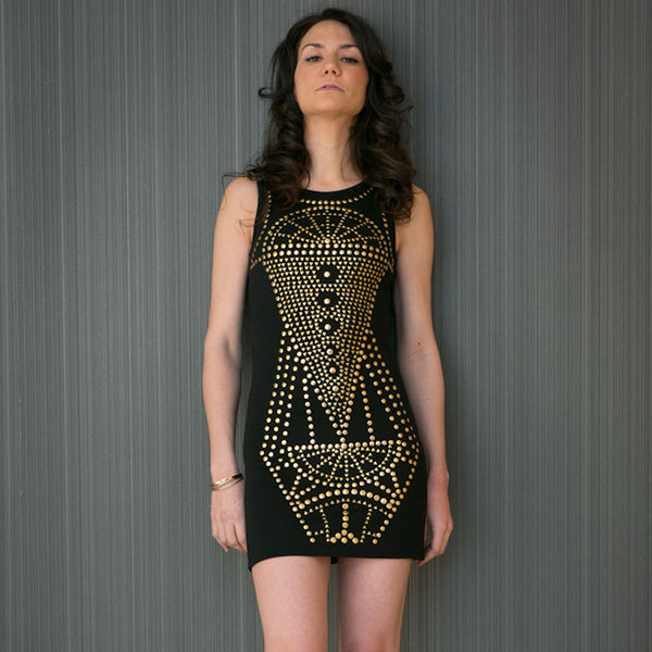 Silvia's Studded Black Body-Con Dress
