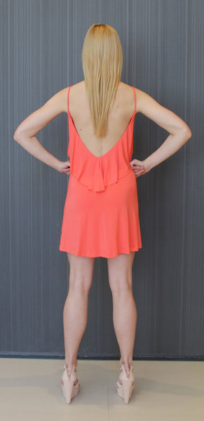 coral backless dress
