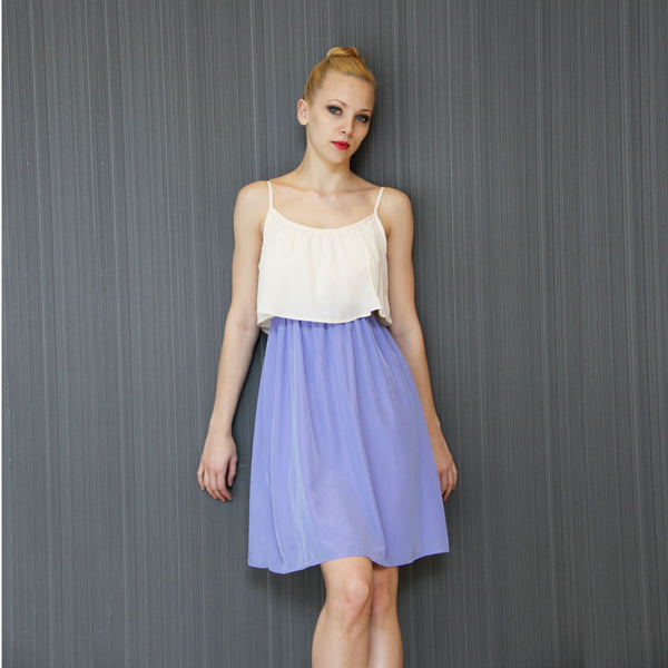 Donna's Off-White & Lavender Two-Tone Dress