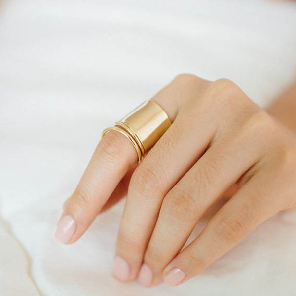 women's wide gold ring