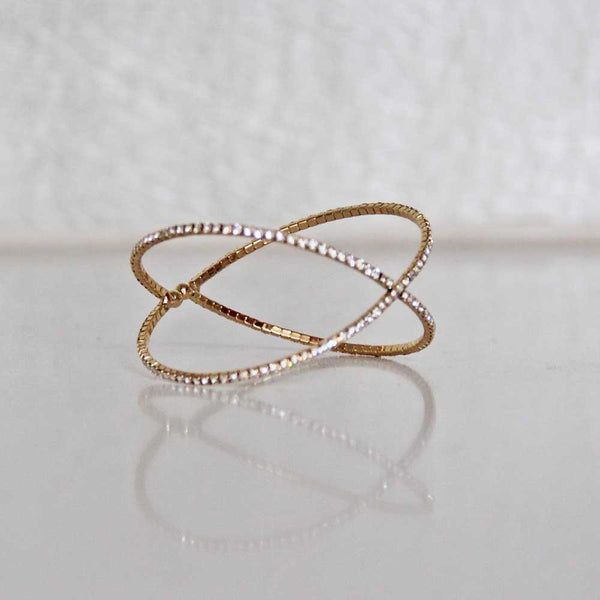 X-Factor Cubic Zirconia Bangle Cuff in Gold