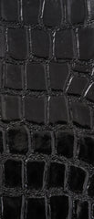 Croco Shiny Black Vinyl Leather Upholstery Fabric