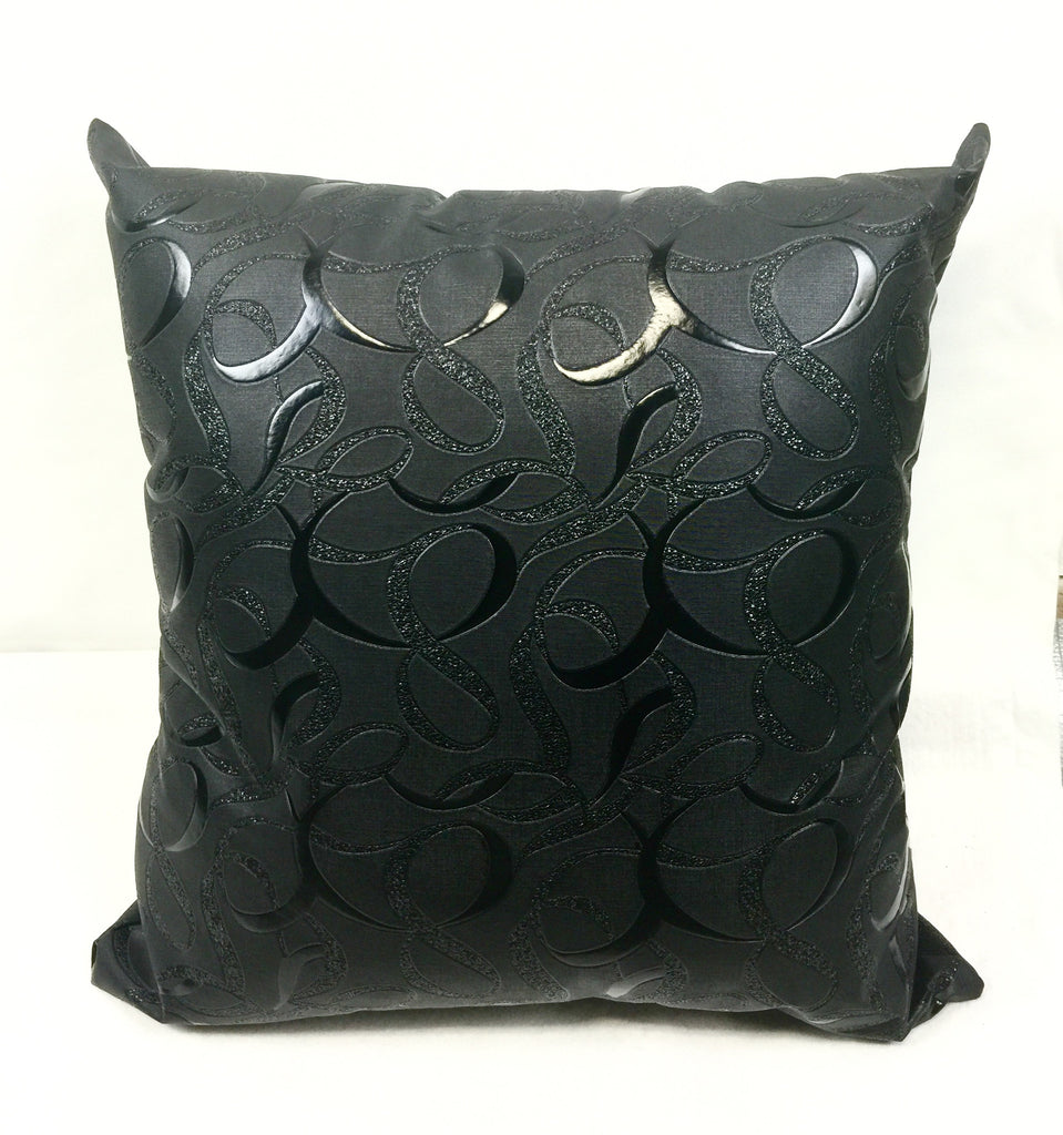 Infinity Black Faux Leather Home Decorative Pillow