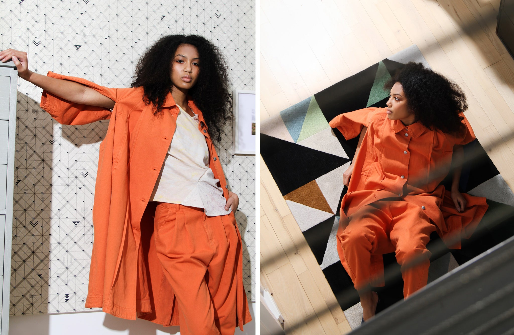 Oversize orange coat by Henrik Vibskov