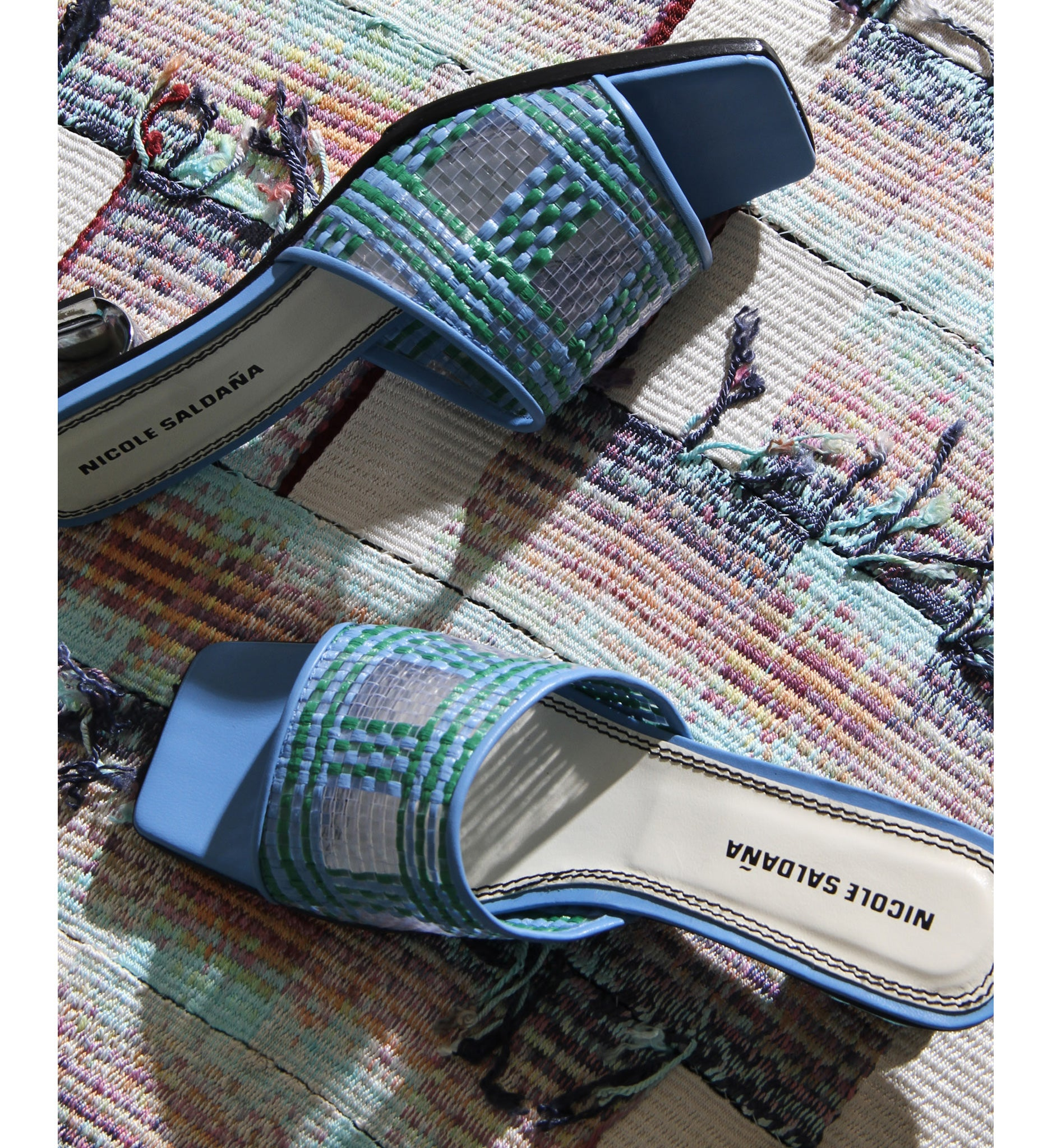 Blue and green basket weave open toe slide by Nicole Saldana