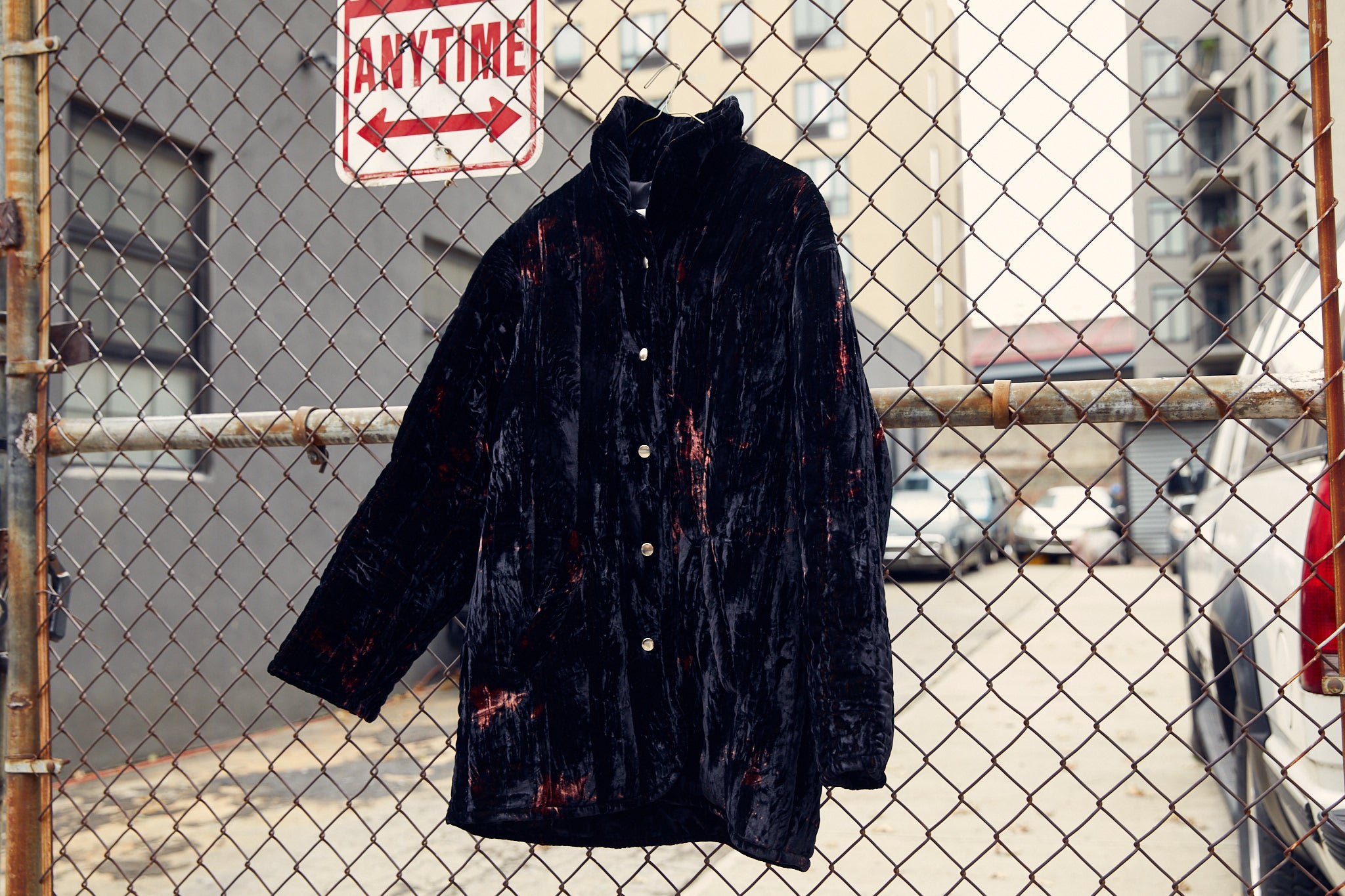 Black tie-dye crushed velvet quilted jacket by Collina Strada