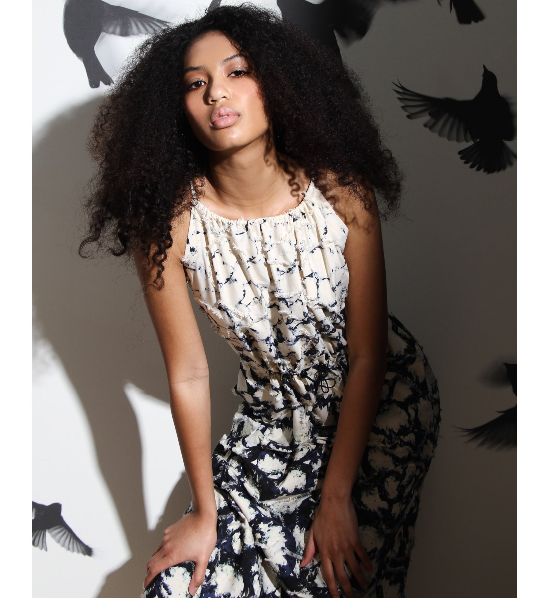 Floral tank dress in custom ivory and black jacquard fabric by Anntian