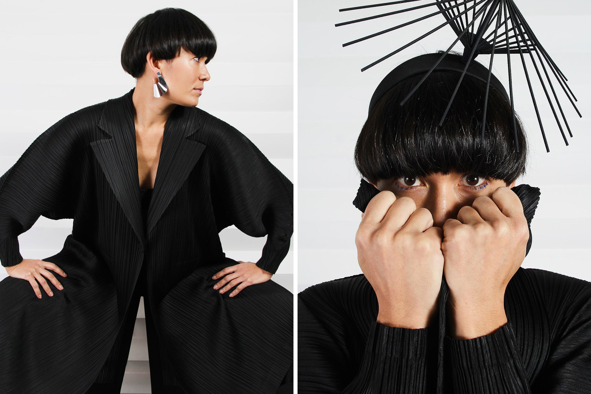 Long black pleated trench coat by Issey Miyake
