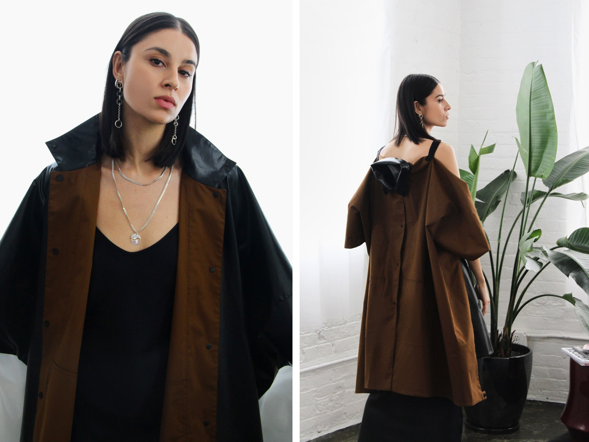 Black reversible oversize jacket by Nehera