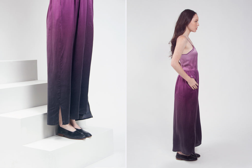 Long Silk Dress with Gradient