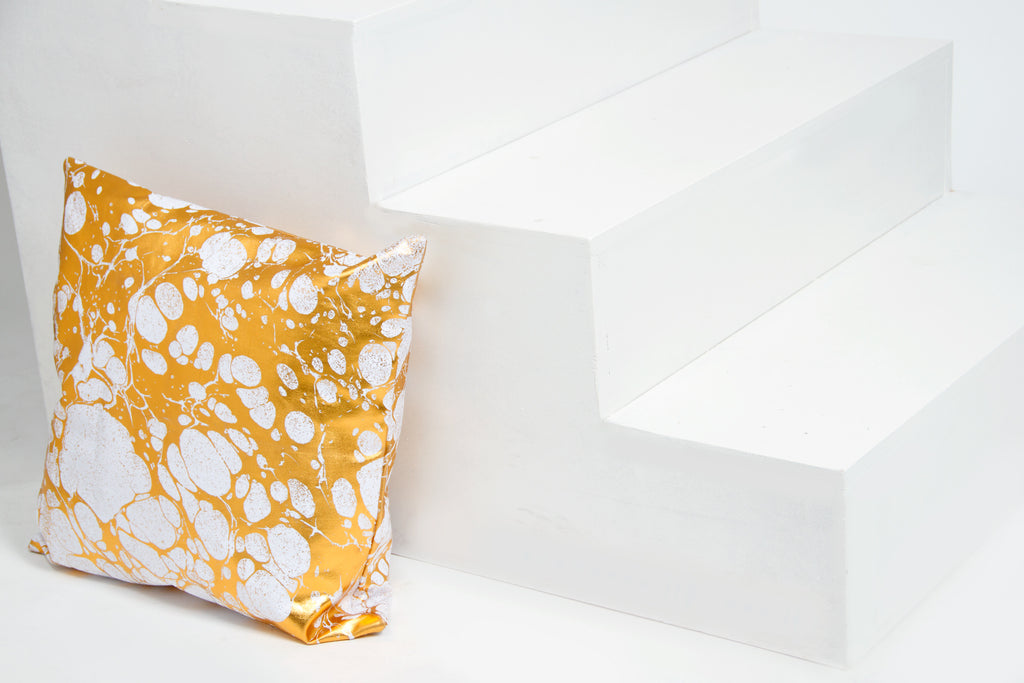 Gold and white Pillow in Wabi Print