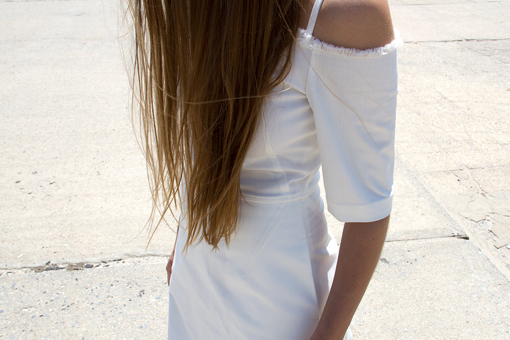 White dress with raw edge