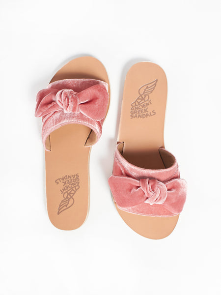 Taygete Bow - Velvet Dusty Pink by Ancient Greek Sandals