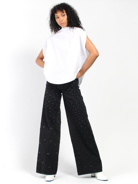 Distress Wide Leg Jeans by MM6 Maison Margiela