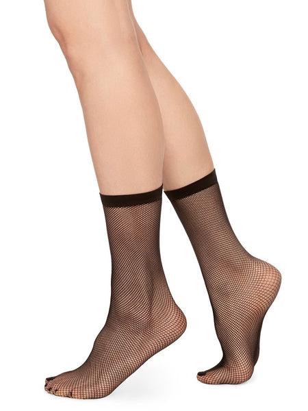 Liv Net Ankle Sock - Black by Swedish Stockings