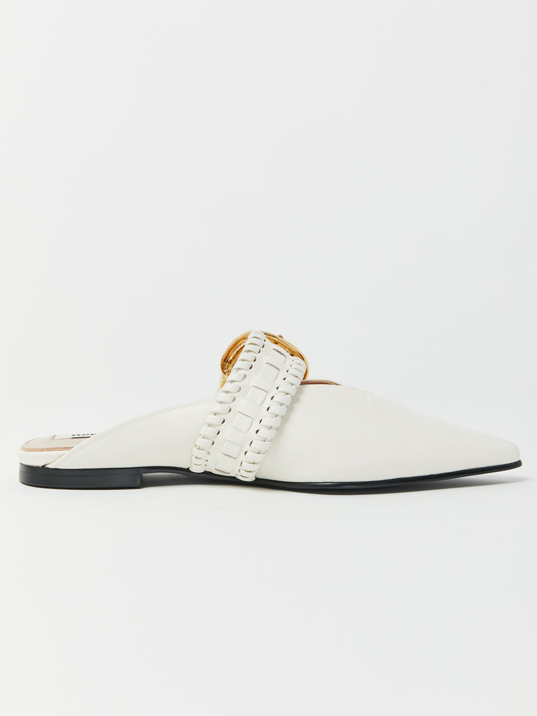 Turnover Strap Slippers - White by Reike Nen