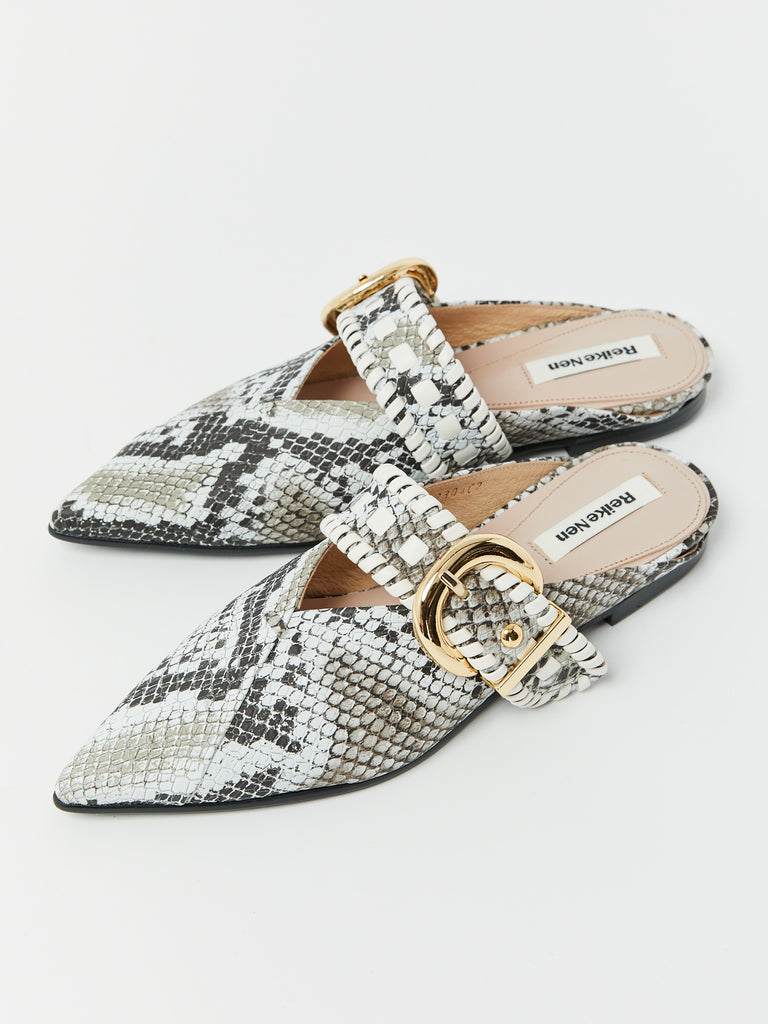 Turnover Strap Slippers - Printed Python by Reike Nen