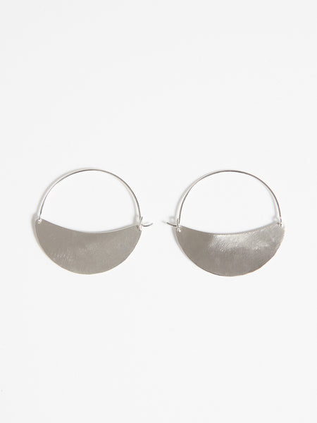 Crescent Hoops Small Silver by Lila Rice