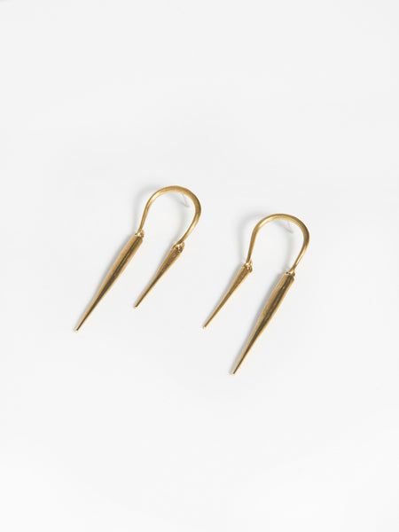 Reverse Horseshoe Earrings w/ Spike Drops by K/LLER