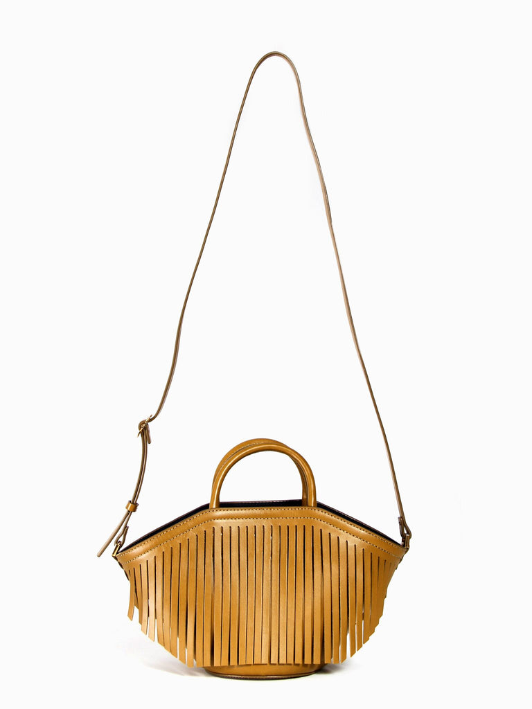 Small Fringe Basket- Mustard Green by Trademark