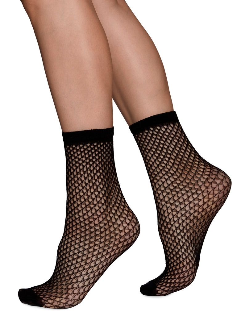 Vera Net Ankle Sock - Black by Swedish Stockings