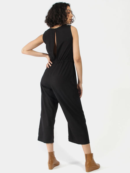 Silk Slit Back Jumper - Black by Ali Golden