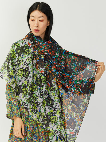 Silk Floral Print Scarf - Multi by Anntian