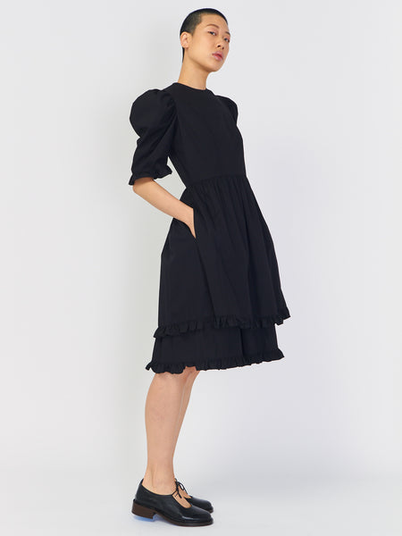 Double Ruffle Prairie Dress - Black by Batsheva